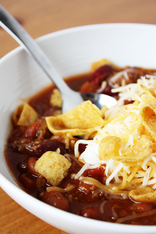 This is our favorite chili! It is simple to throw together, and simmers on the stove all afternoon, making the house smell delicious!
