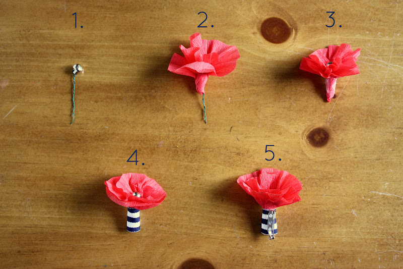 Make these easy DIY crepe paper poppies to wear on Memorial Day.