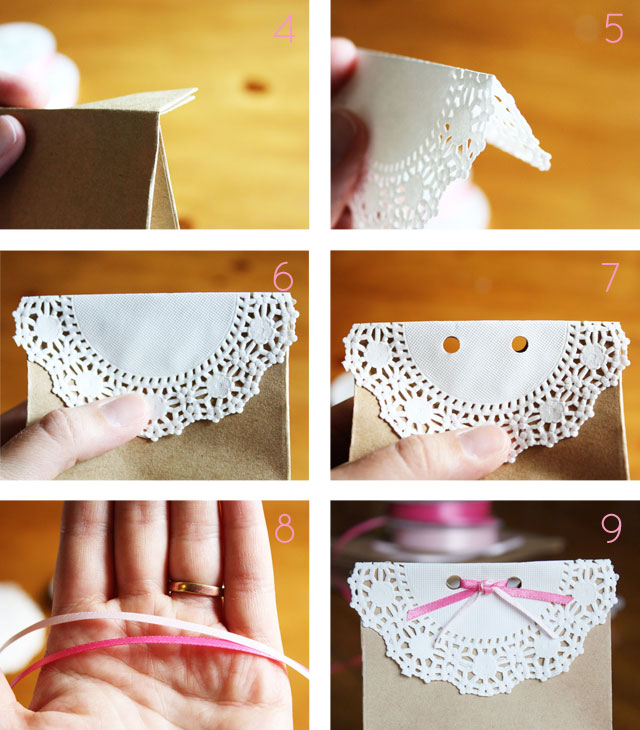 These sweet, doily-topped favor bags are perfect for birthday parties and baby showers.