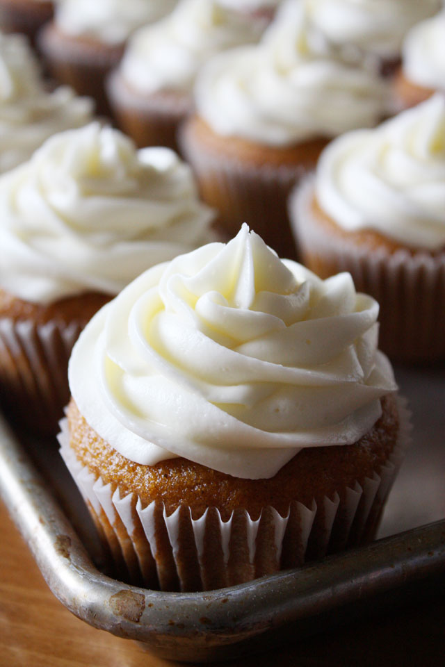 A delicious, classic pumpkin cupcake recipe with cream cheese frosting.