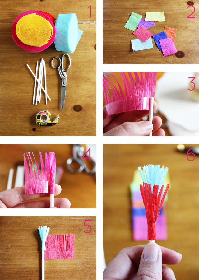 Make these cute fringed cupcake toppers for your next fiesta!