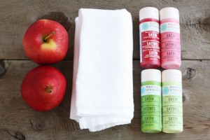 apple-stamped-tea-towel-materials