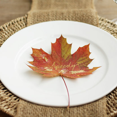 fall place cards made from gorgeous fall leaves touched with gold foil