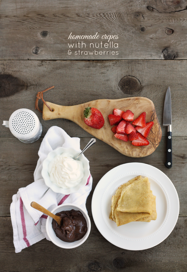 These homemade crepes with strawberries and nutella are one of our favorite meals!