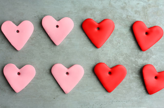 DIY oven bake clay heart ornaments for Valentine's Day