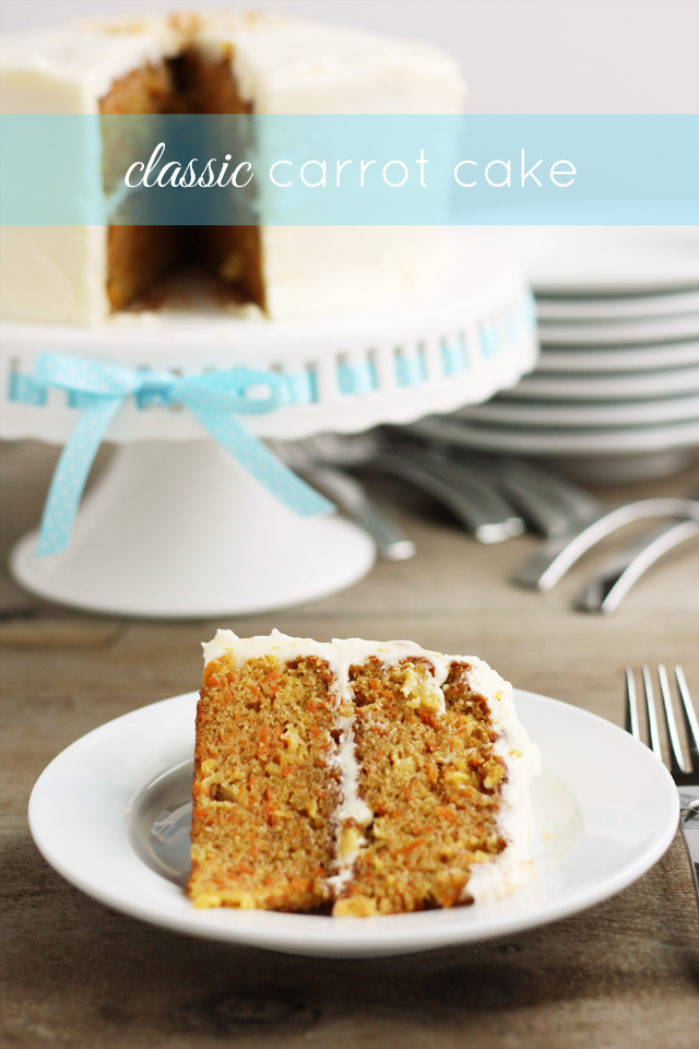 This classic carrot cake recipe is my favorite! The cake is loaded with shredded carrots and crushed pineapple, and the whole thing is topped with homemade cream cheese frosting. Delicious!
