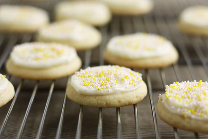 Scrumptious lemon sugar cookies with a tangy, lemony cream cheese frosting! A family favorite.