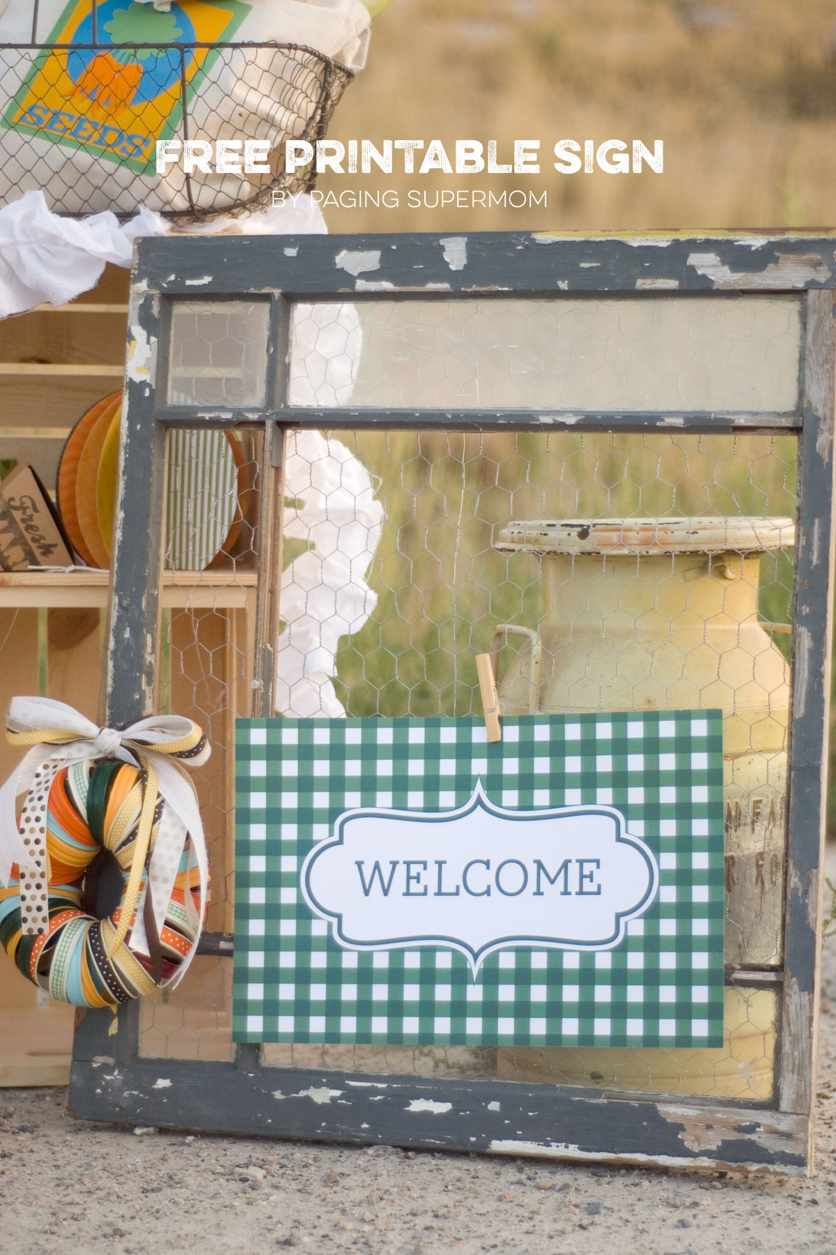 welcome sign gingham printable