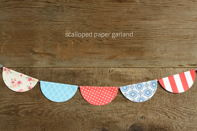scalloped paper garland bunting flags banner