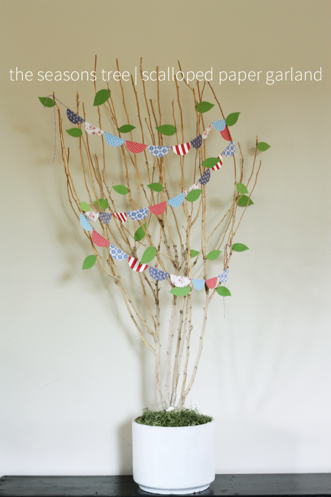 seasons tree potted branch decorations seasonal paper scallops