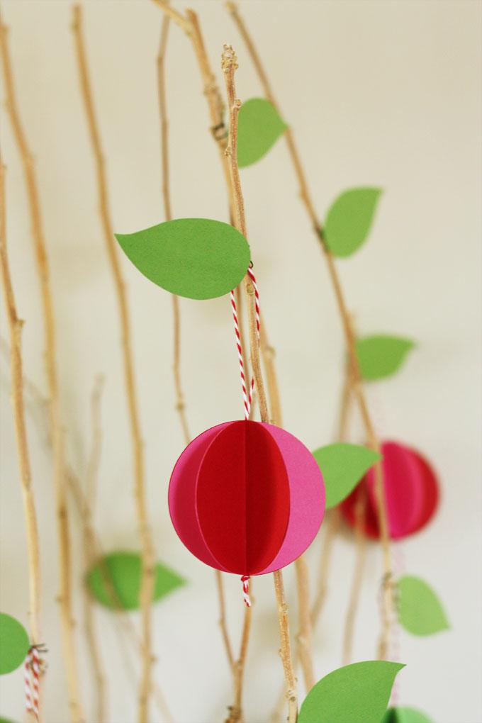 seasons tree apple paper ball ornaments