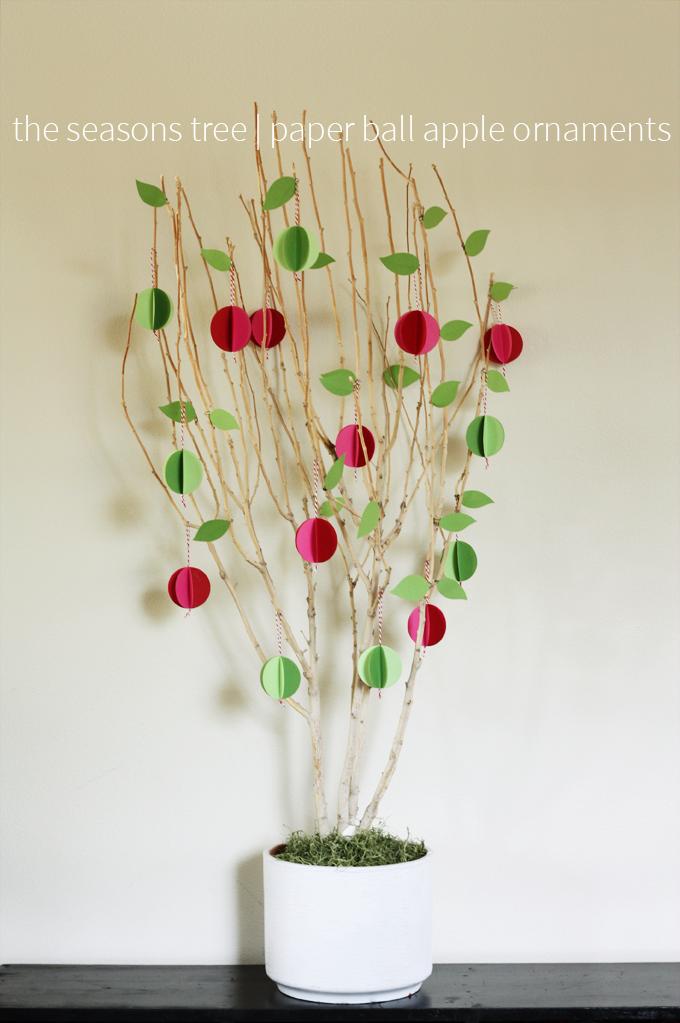 seasons tree paper ball apple ornaments
