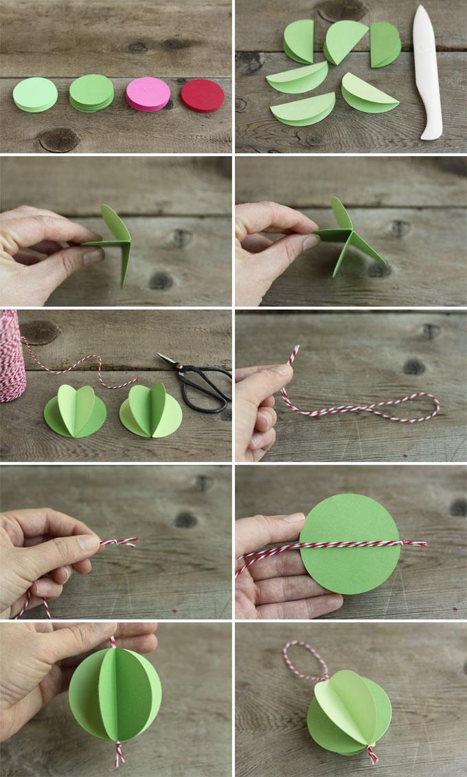 DIY paper ball ornaments steps