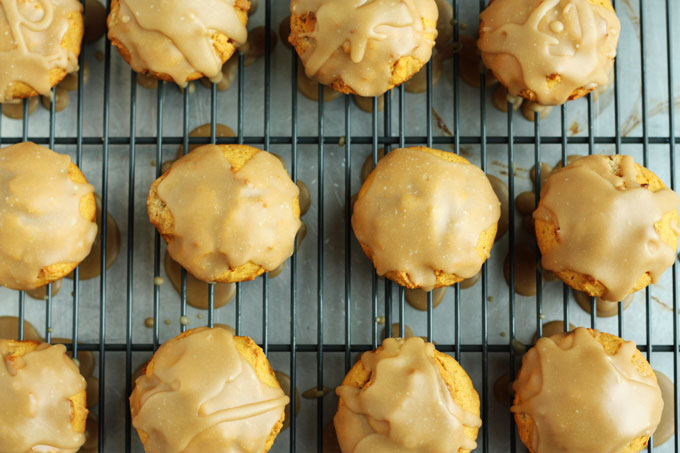 pumpkin muffins with caramel glaze fall baking