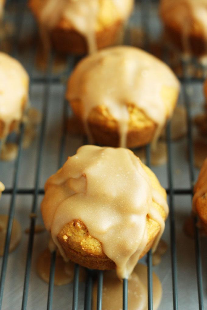 pumpkin spice muffins caramel glaze fall baking