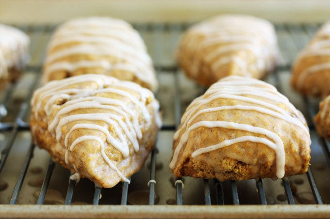 pumpkin spice scones apple cider glaze fall baking breakfast