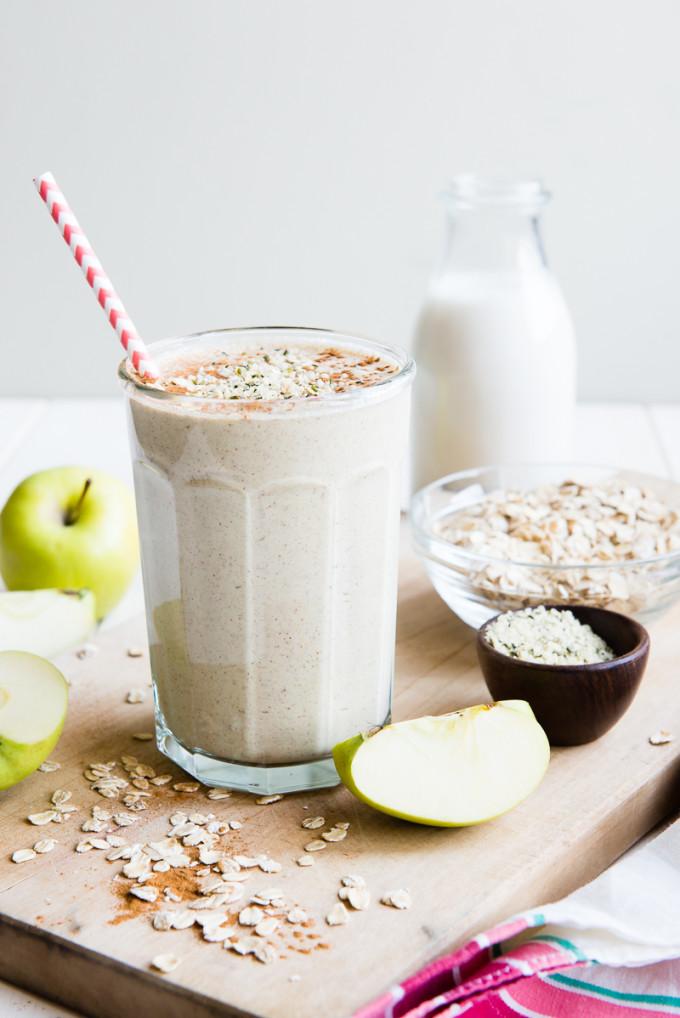 breakfast smoothie apples oatmeal flax chia seeds hemp