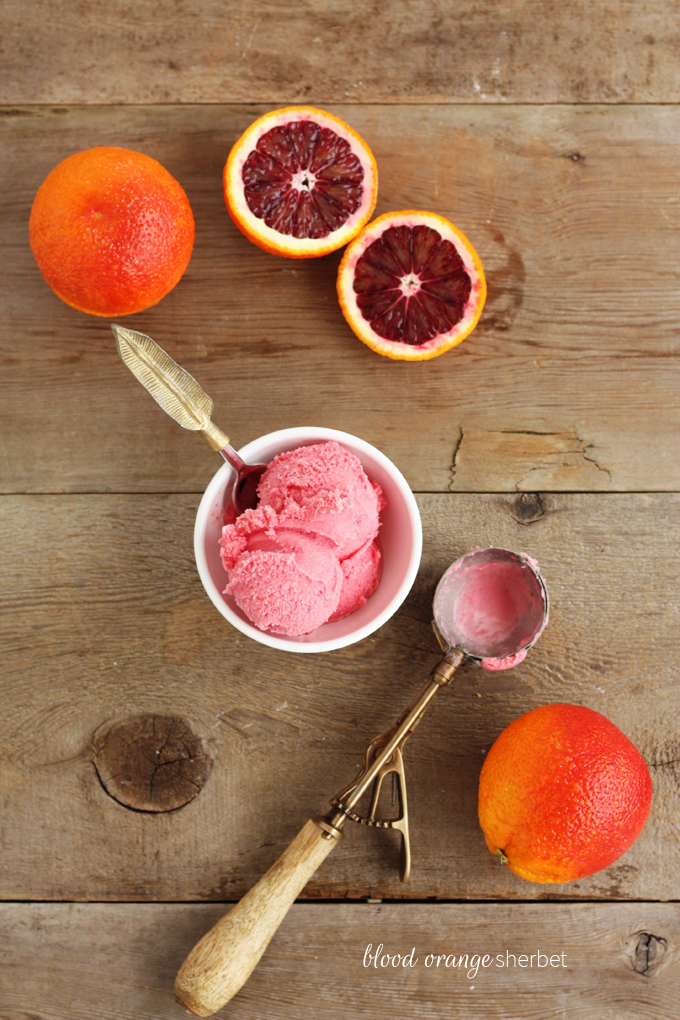 homemade blood orange sherbet ice cream