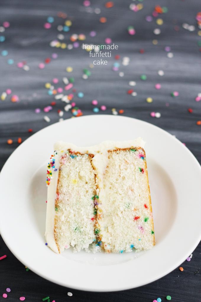 homemade funfetti cake rainbow sprinkles