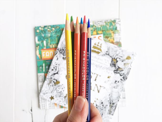 Holiday gifts for creatives: adult coloring books and prismacolor colored pencils