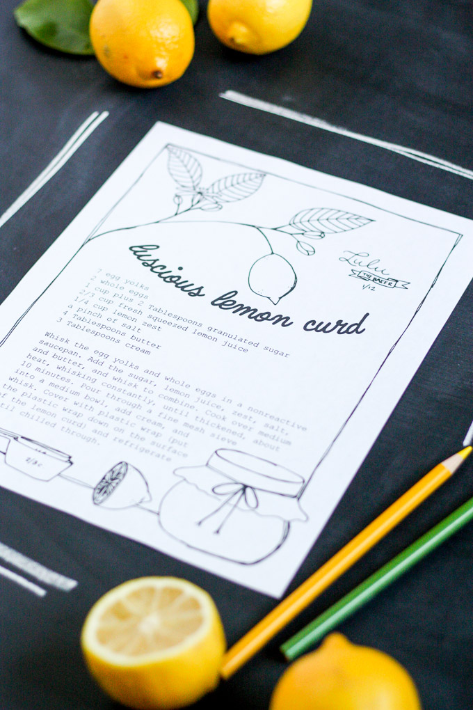 free printable recipe coloring page featuring luscious lemon curd