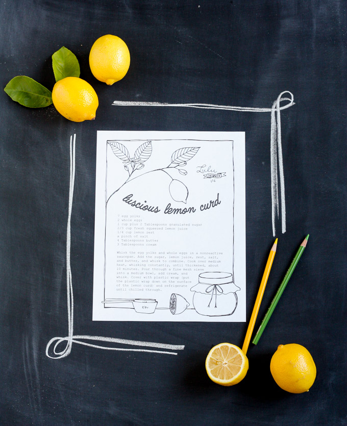 free printable recipe coloring page lemon curd