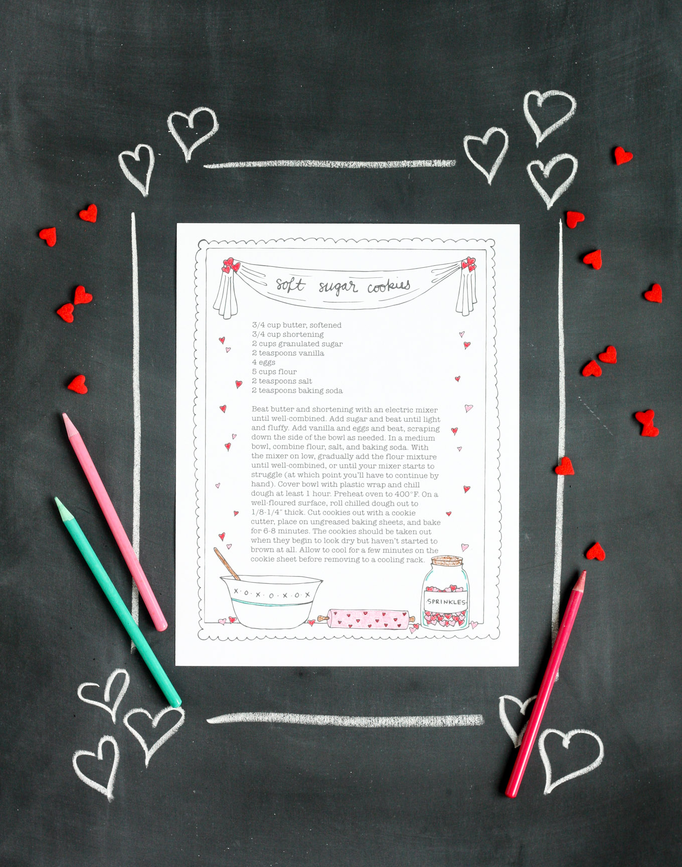 valentine's day sugar cookie printable recipe coloring page