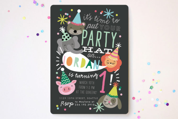 Cute animal-themed party invitations from Minted