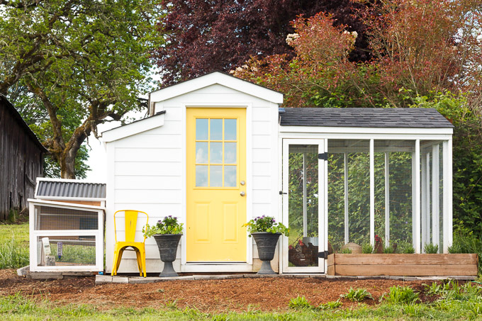 A white country cottage chicken coop with a yellow front door