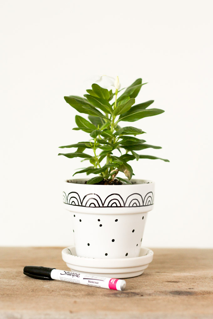Need a cute, quick, last-minute gift? Customize a simple, glazed flower pot with paint markers for a fun and fast gift.