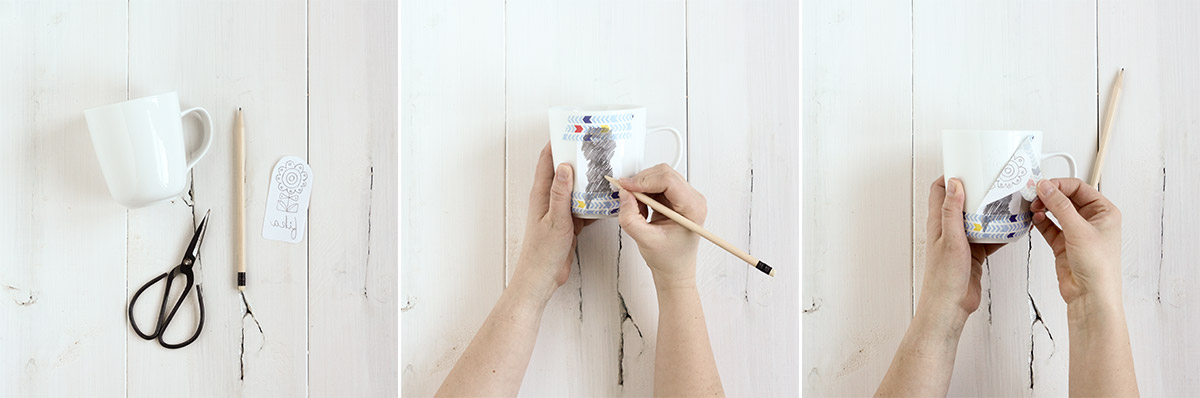 Printing intricate designs on these mugs by hand is easy thanks to a super simple image transfer technique!