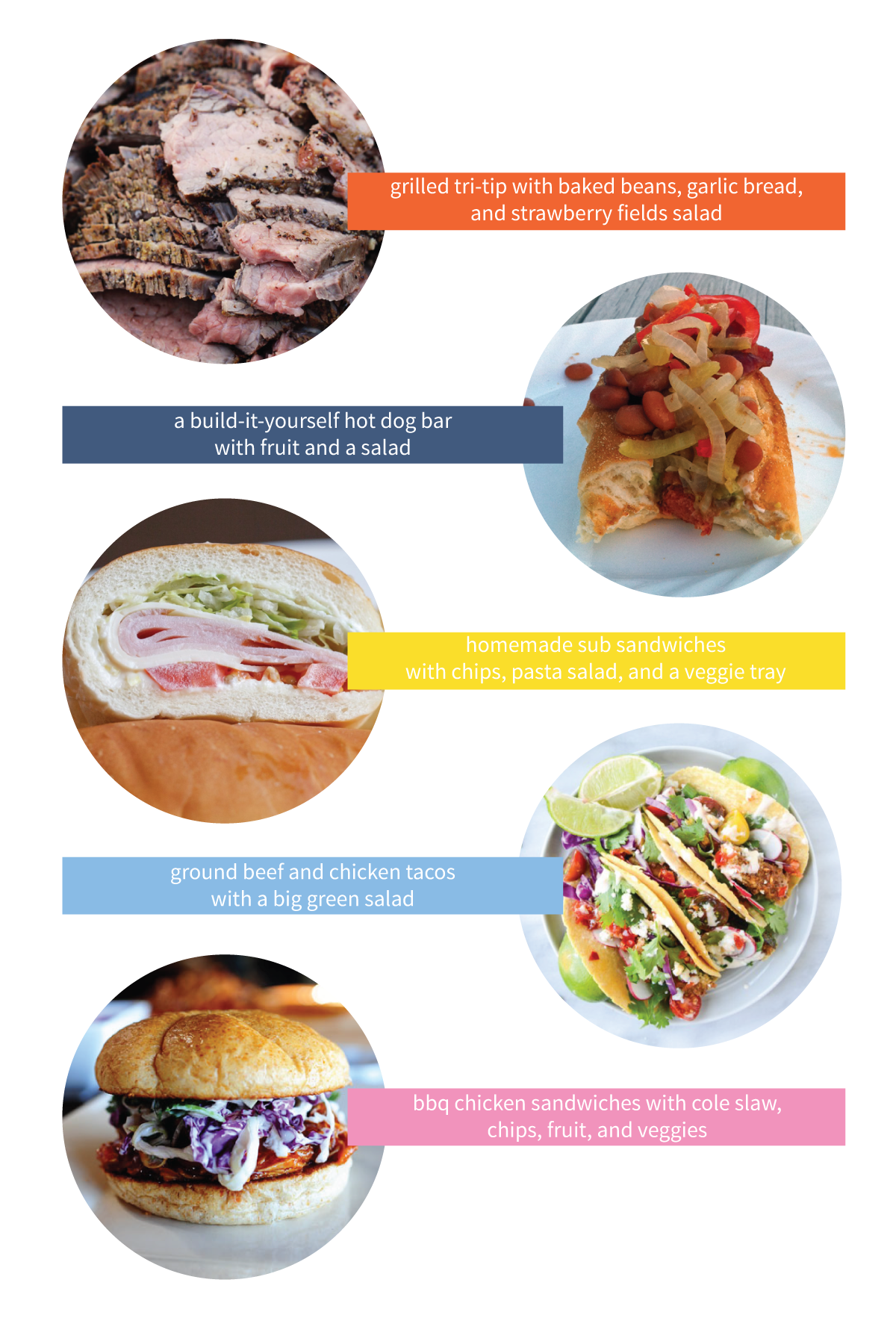 This week's menu ideas features five of our favorite easy summer dinners that are perfect for feeding a crowd. They make great menu choices for family reunions, barbecues, and get-togethers.
