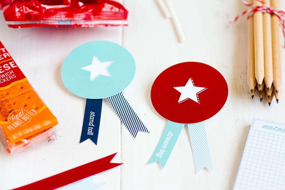 You can make these cute badges for your very own back-to-school care package!