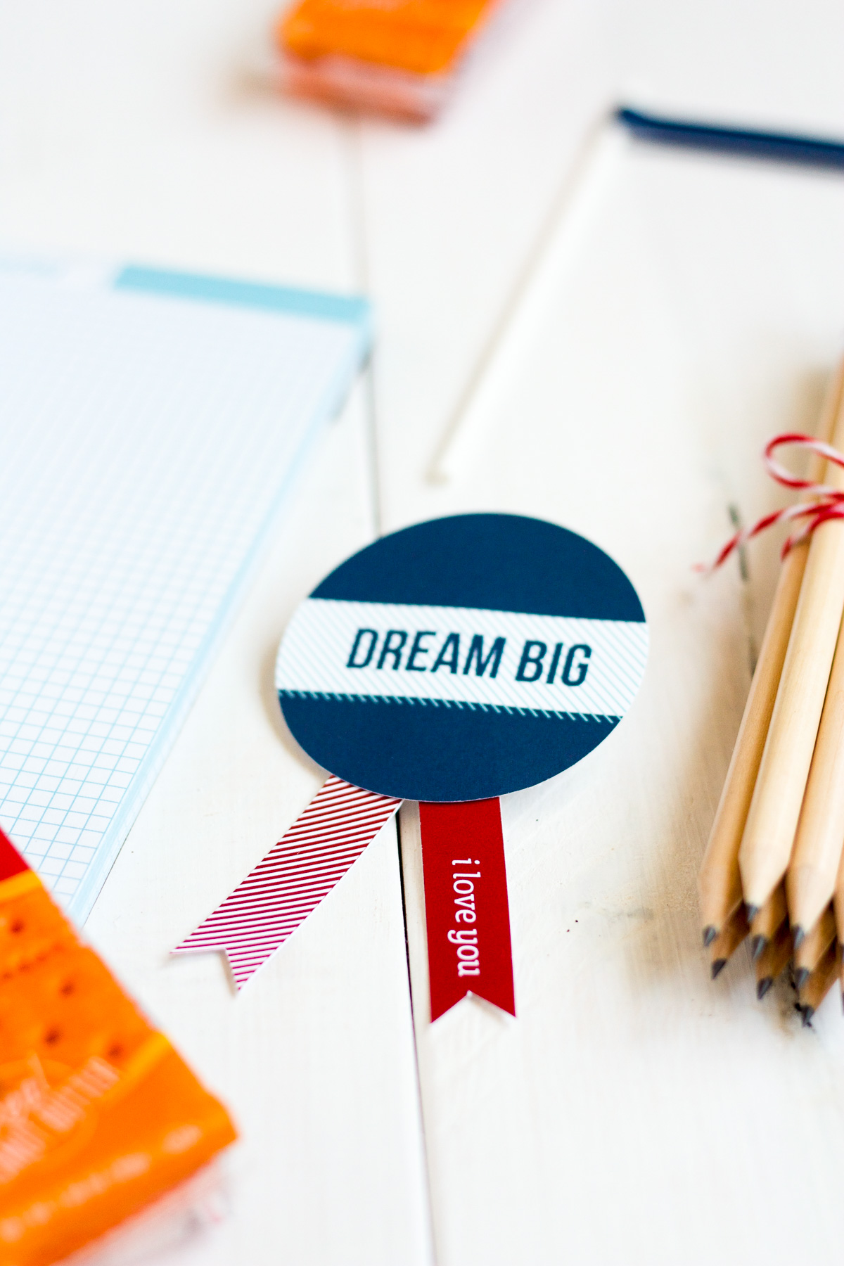 "These ""Dream Big"" badges are easy to make and include in a back-to-school care package!"