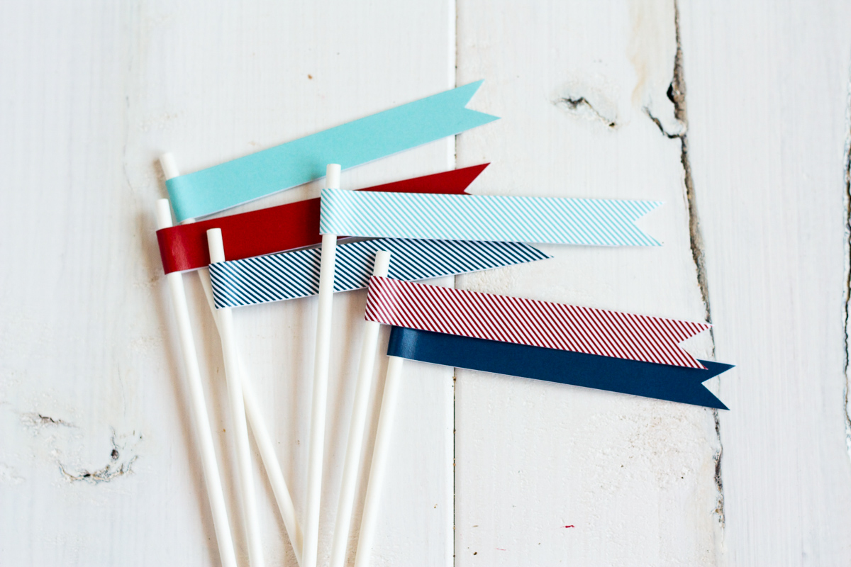 These colorful treat flags would look great in cupcakes or clustered together on the top of a pretty layer cake!