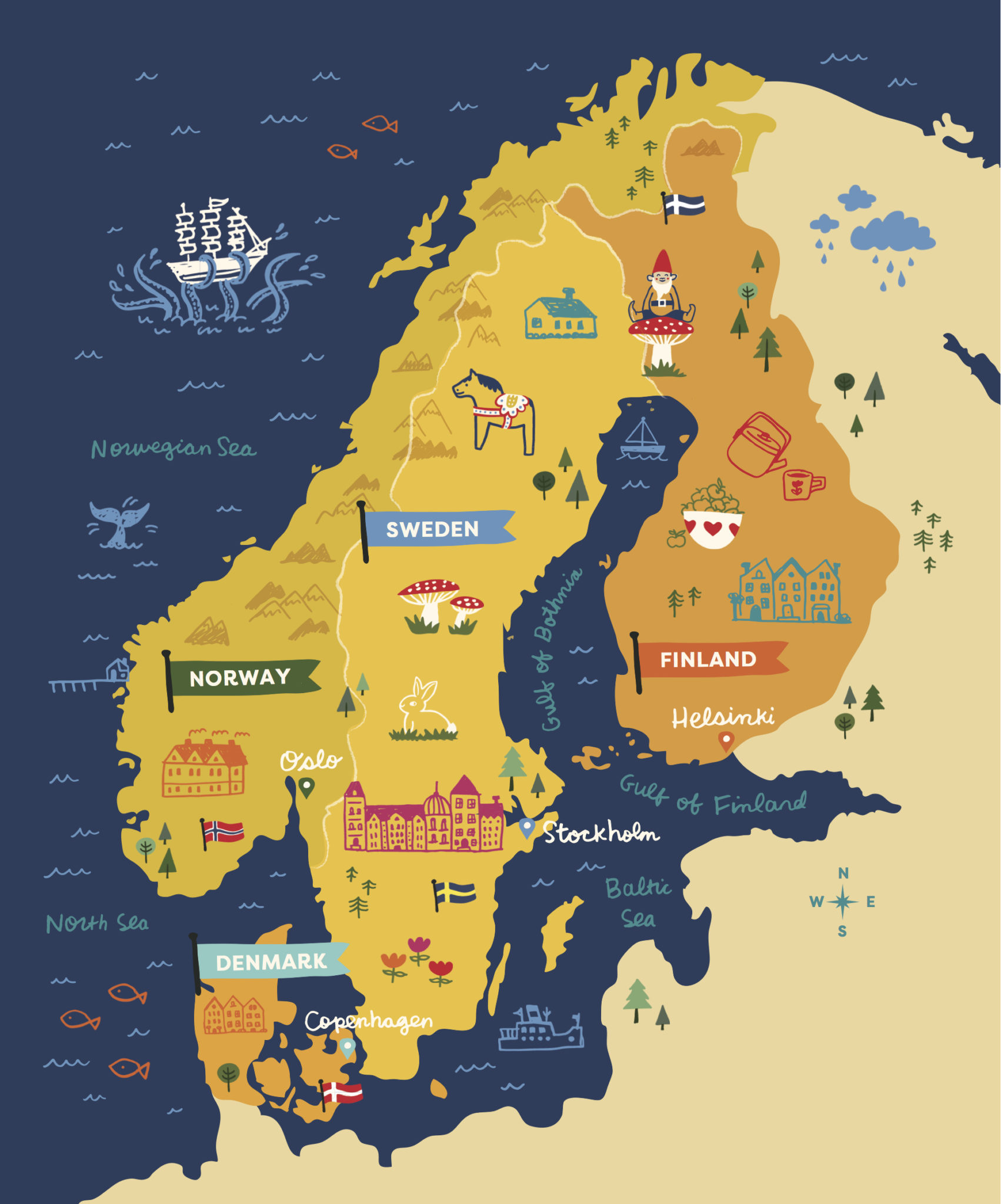 A darling, illustrated map from Scandinavian Gatherings by Melissa Bahen (September 2016, Sasquatch Books)