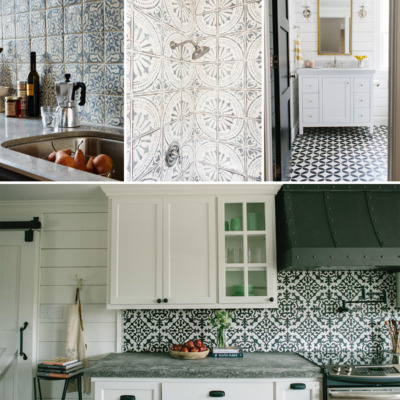 My newest obsession is painted cement or ceramic tile. In kitchens, bathrooms, hallways, and more, they look amazing!
