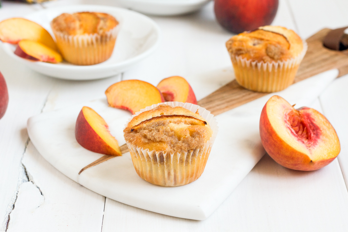 These delicious peach crumb muffins are perfect at brunch, dinner, or alongside a cup of tea!