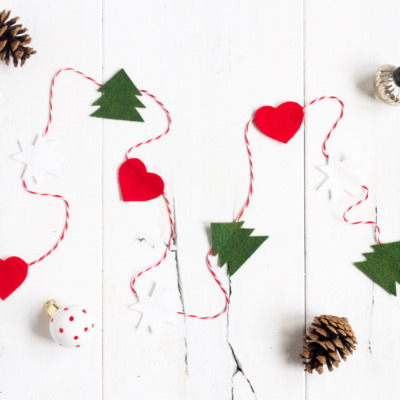 Make this easy and festive holiday garland out of felt and baker's twine!