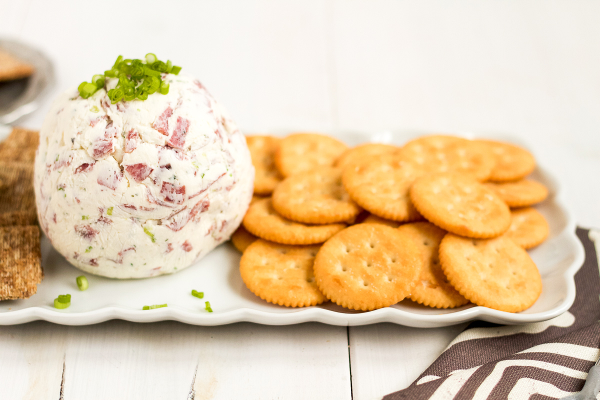 Take this easy, 4-ingredient cheese ball to your next holiday party!