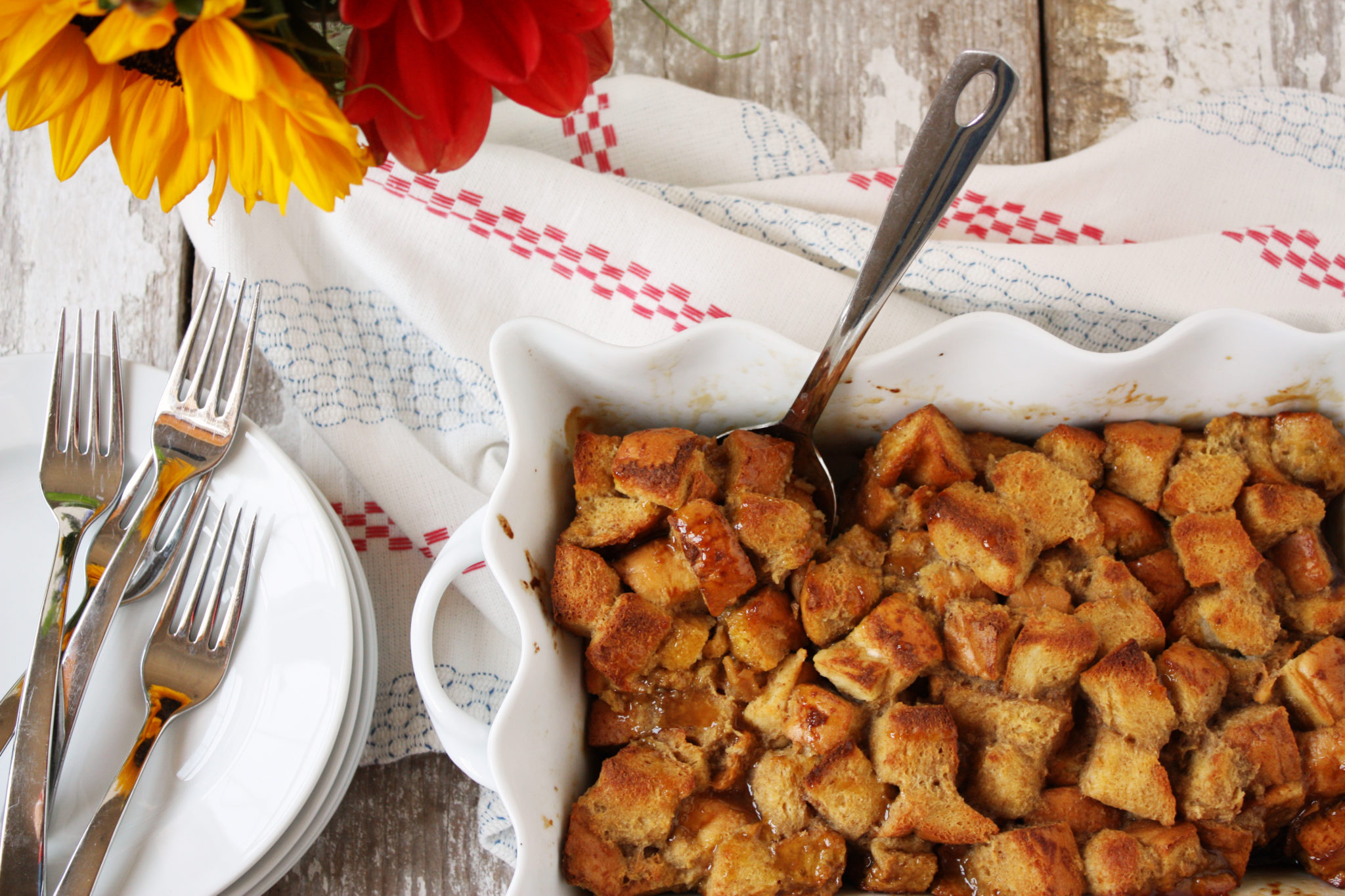 The easy, overnight french toast casserole has a layer of tart apples and buttery caramel sauce at the bottom!
