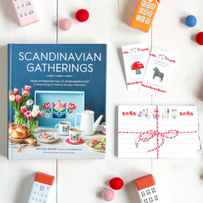 Scandinavian Gatherings recipe cards, Toadstool and Dala Horse enamel pins, available from Lulu the Baker's Etsy shop