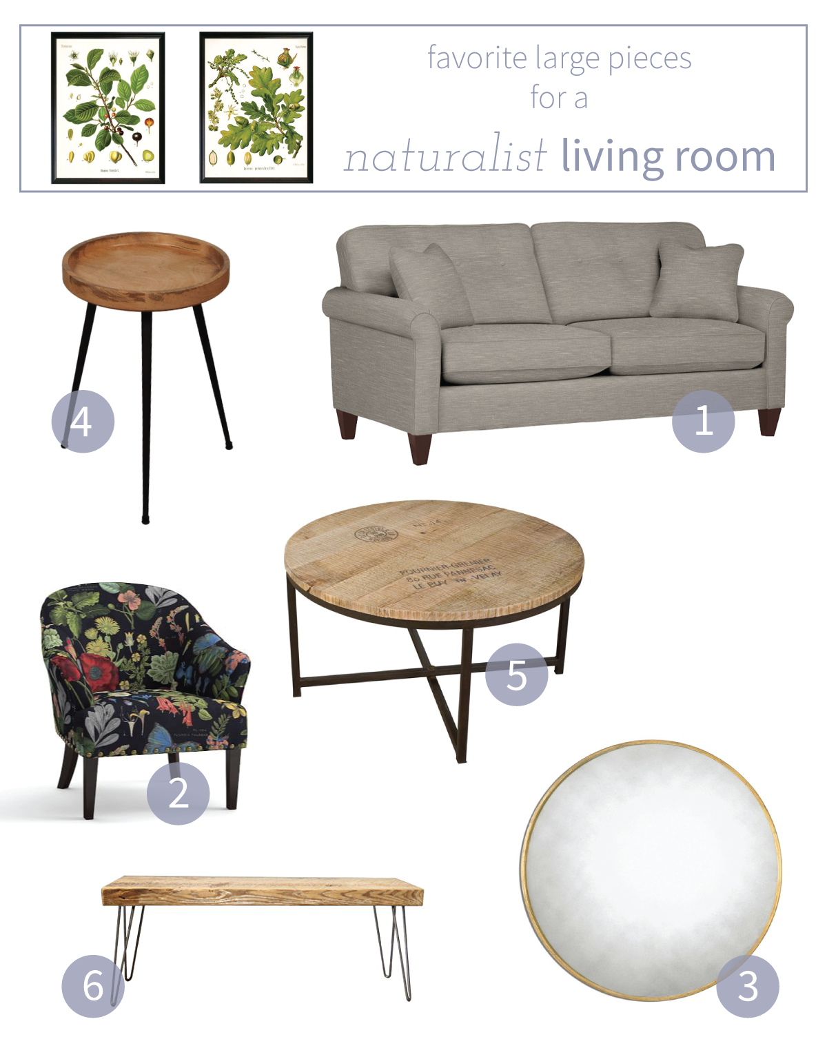 These are some of my favorite large-scale pieces for our naturalist living room makeover.
