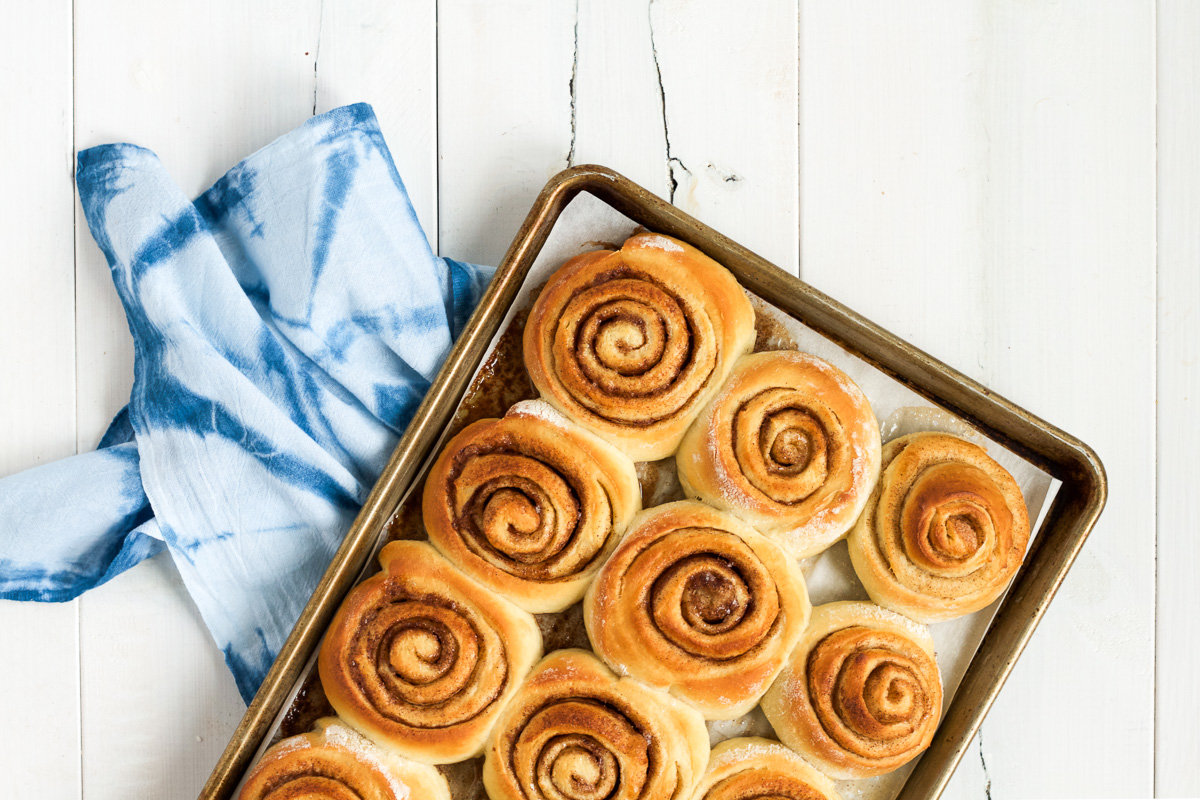 Homemade cinnamon rolls with a delicious, buttery filling and yummy cream cheese frosting.