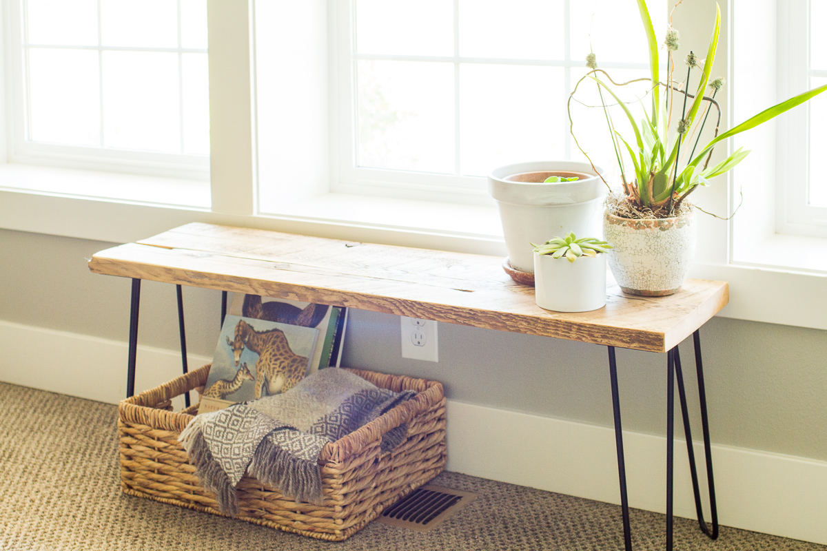 DIY hair pin leg bench
