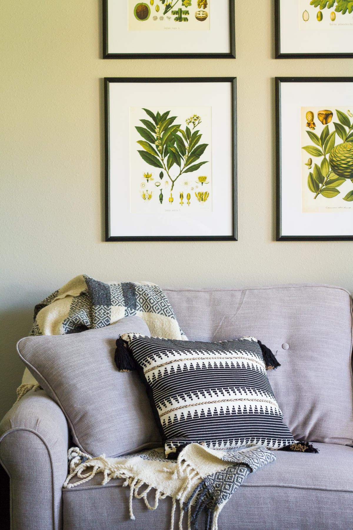 Botanical prints arranged in a grid above a gray couch; black and white accent pillows