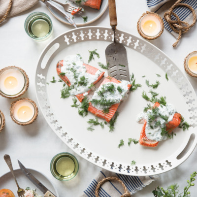 Celebrate Midsummer by making this easy and delicious poached salmon with dill sauce.