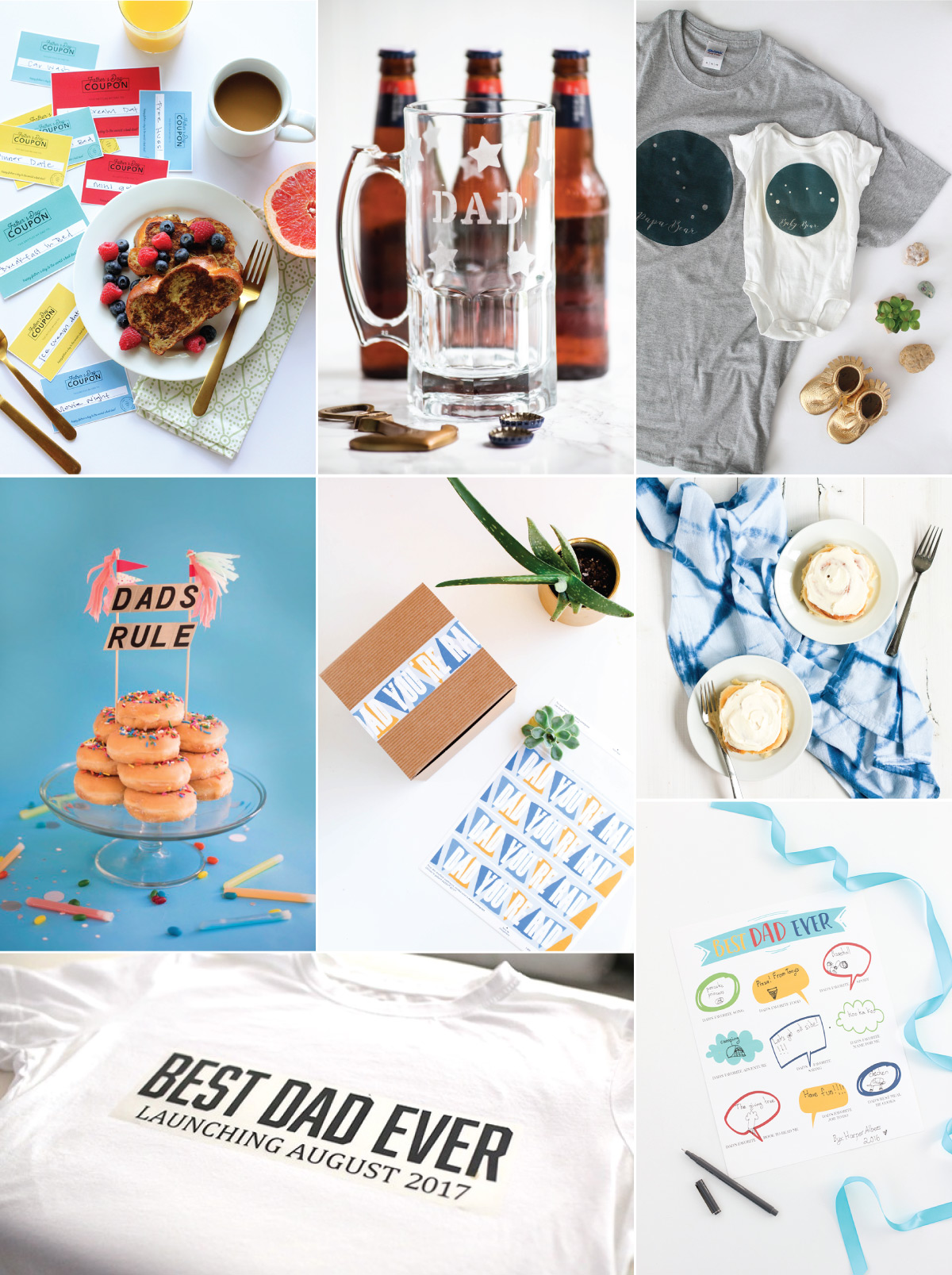A round-up of fun and fabulous Father's Day ideas, including delicious breakfast-in-bed recipes, easy DIY gift ideas, free printables, and more!