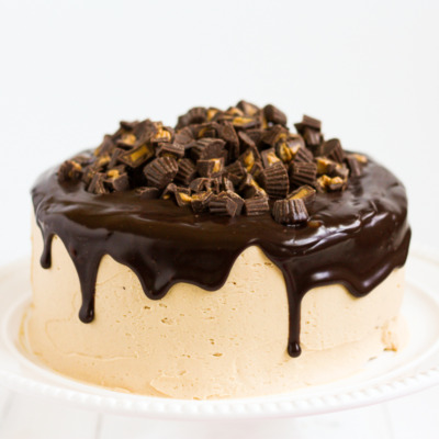 Everybody's favorite flavor combination in a delicious layer cake! Chocolate cake covered in fluffy peanut butter frosting and silky-smooth milk chocolate ganache.