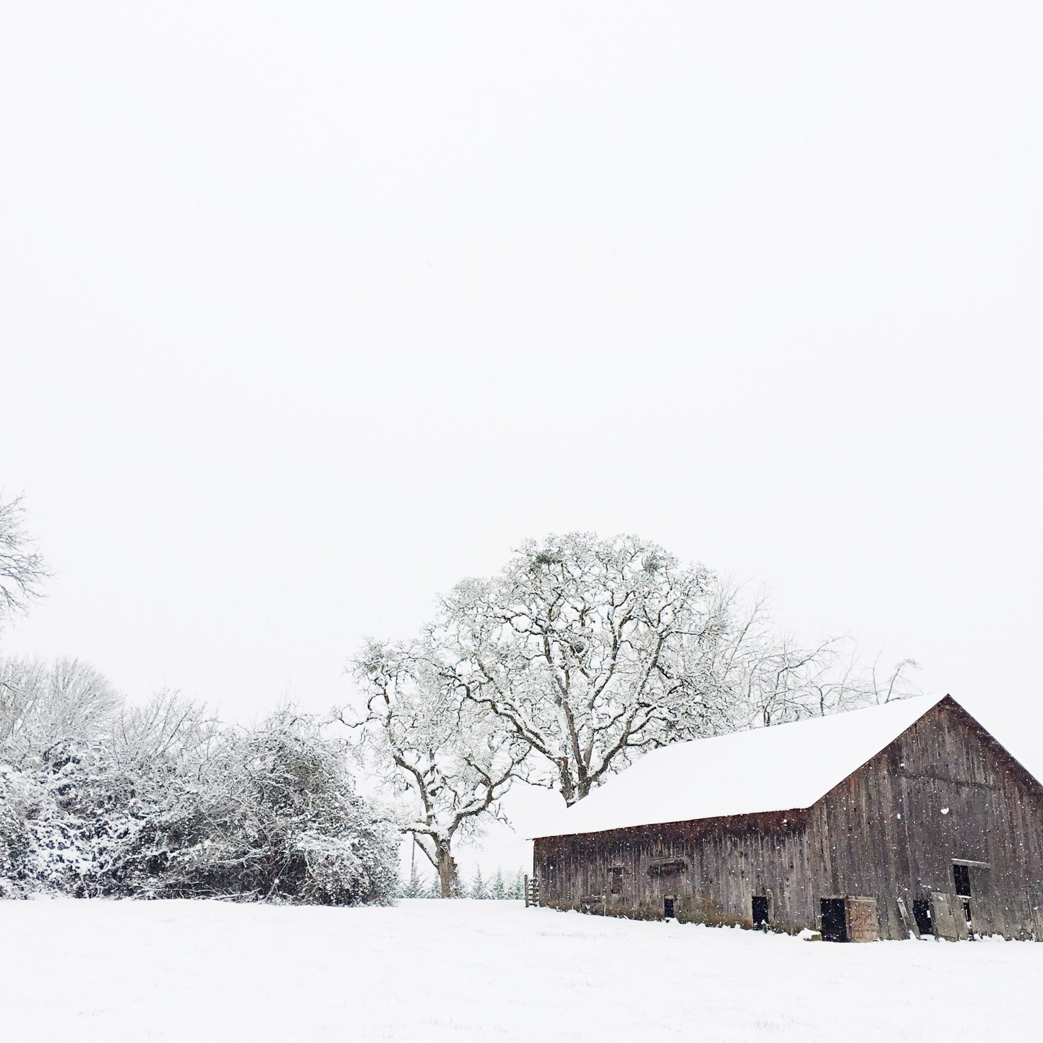 vintage barn in the snow